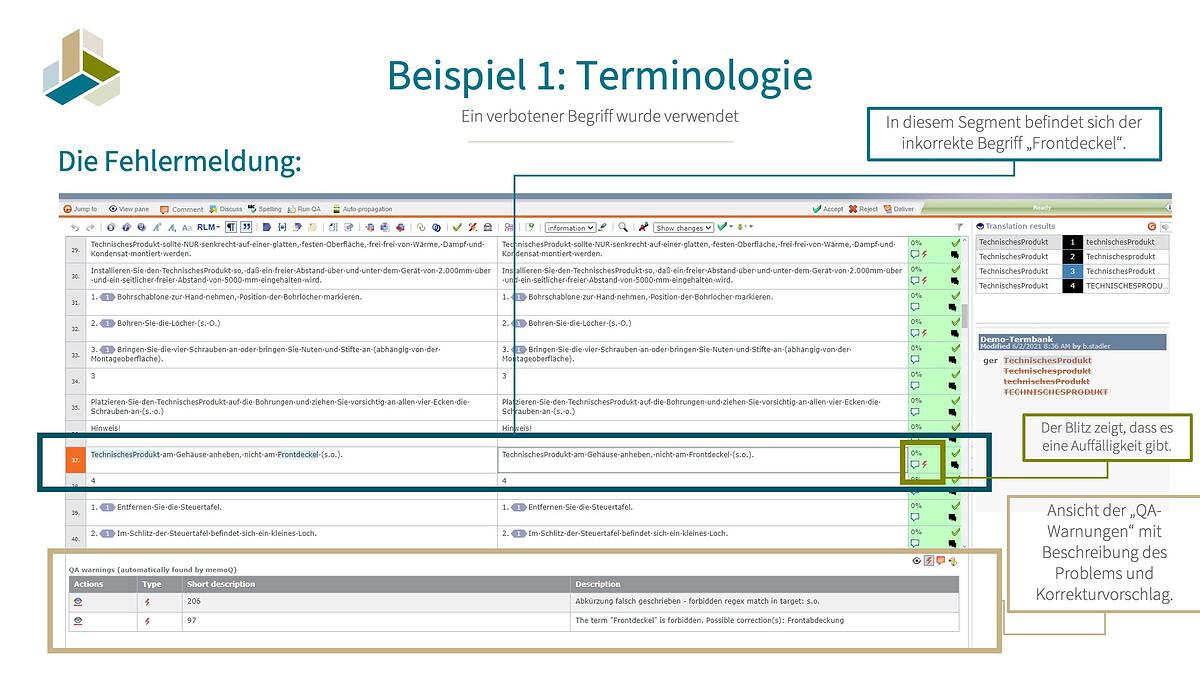 Beispiel 1: Terminologie - Screenshot der AT-Korrektur im Self Service Portal