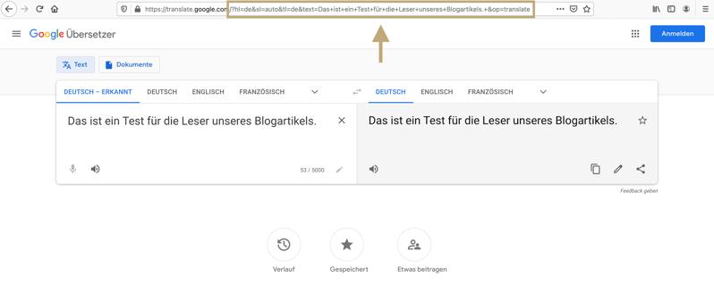 Bild: Screenshot von Google Übersetzer Bsp